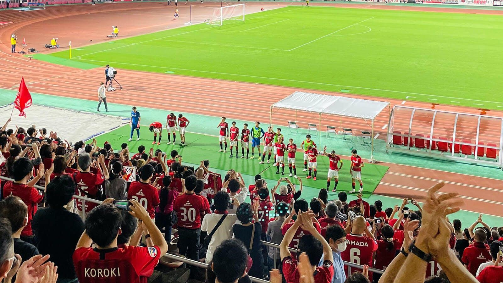 天皇杯 JFA 第101回全日本サッカー選手権大会 3回戦 浦和駒場スタジアム SC相模原戦 試合終了後の様子